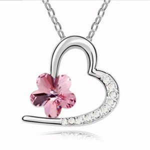 Jewelry - Silver Plated Pink Crystal Pendant Heart Charm